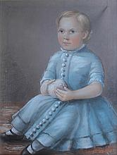 AMERICAN OR ENGLISH SCHOOL (19TH CENTURY) LITTLE GIRL IN BLUE Pastel on paper: 27 x 21 in. (sight)