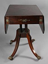 REGENCY INLAID DROP LEAF TABLE WITH BRASS MOUNTS