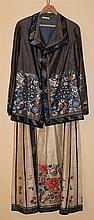 CHINESE CREAM DAMASK SILK-EMBROIDERED SKIRT, LATE QING DYNASTY