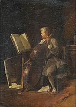 FRENCH SCHOOL (19TH CENTURY) CELLIST Oil on panel: possibly oil on canvas laid on board: 9 x 6 1/4 in.