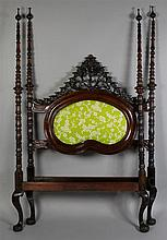 BRAZILIAN NEOCLASSICAL STYLE CARVED ROSEWOOD FOUR POSTER CANOPY BED