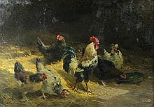 CHARLES EMILE JACQUE (FRENCH, 1813-1894) ROOSTERS AND HENS Oil on canvas: 17 x 24 in.