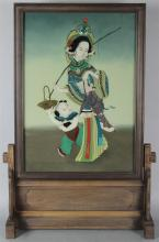CHINESE REVERSE PAINTING ON GLASS, MOUNTED AS A TABLE SCREEN ON STAND