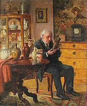 CHARLES SPENCELAYH (BRITISH, 1865-1958) THE ANTIQUARIAN Oil on panel: 13 x 11 in.
