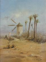 EDWIN LORD WEEKS (AMERICAN, 1849-1903) WINDMILL AND PALM TREES Oil on artist board: 11 x 8 1/2 in.