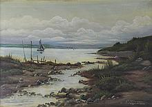 C. WERNER LANDSCAPE WITH WATER AND SAILBOAT, 1925 Oil on canvas: 18 x 24 in.
