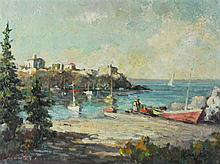 ANTONIS L. KARAFYLLAKIS (GREEK, 1908-1983) EUROPEAN HARBOUR SCENE Oil on canvas: