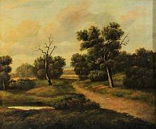 R. BAR (19TH CENTURY) LANDSCAPE WITH POND Oil on board: 18 1/4 x 22 1/4 in.