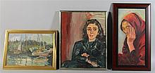 REERMON (20TH CENTURY) PORTRAIT OF A WOMAN with two other 20th C. paintings Oil on canvas: 20 1/4 x 10 in.