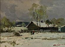 CLIFEO...? (20TH CENTURY) WINTER SCENE Oil on canvas: 11 1/2 x 15 1/2 in. (sight)