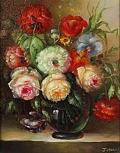 J. MAIRD (20TH CENTURY) FLORAL STILL LIFE Oil on canvas: 9 1/4 x 7 1/2 in. (sight)