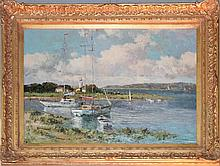 THOMAS (20TH CENTURY) HARBOR SCENE Oil on canvas: 23 3/4 x 35 1/4 in. (sight)