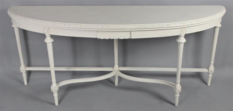 Louis xvi style white painted demilune console table White demilune console table