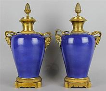 PAIR OF CHINESE DARK BLUE-GLAZED ORMOLU MOUNTED VASES