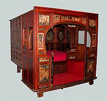 CHINESE LACQUERED WOOD AND GILT OPIUM BED