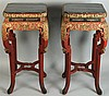 PAIR OF CHINESE LACQUERED WOOD STANDS