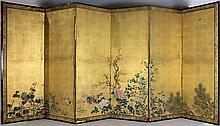 JAPANESE SIX-PANEL RIMPA SCHOOL SCREEN, EDO PERIOD