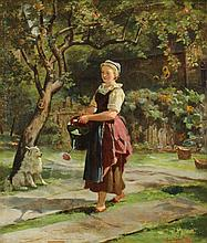 JOHANNES MOESELAGEN (DUTCH, 1827-?) YOUNG GIRL WATERING A GARDEN Oil on panel: 12 x 10 1/2 in.