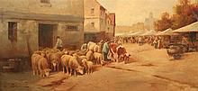 JULES GEORGES BAHIEU (FLEMISH, C. 1860-C.1895) FLOCK OF SHEEP GOING THROUGH A VILLAGE Oil on canvas: 26 3/8 x 46 1/2 in.