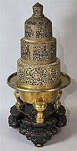CHINESE GILT-METAL LARGE TRIPOD CENSER
