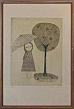 KEIKO MINAMI (JAPANESE, 1911-2004) WOMAN WITH AN UMBRELLA Etching: 14 1/2 x 11 in. (sheet)