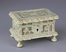 CHINESE EXPORT IVORY CARVED SMALL JEWELRY BOX