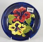Moorcroft Hibiscus Shallow Dish with Blue Ground