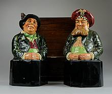 Royal Doulton rare pair of Asprey and Co decanters The Scotsman and The Irishman (heads detachable) in a wooden case (2)