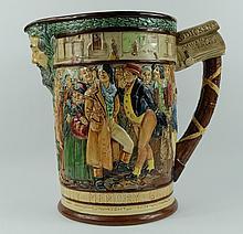 Royal Doulton large embossed jug The Dickens Jug by C J Noke height 27cm