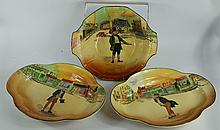 Royal Doulton Dickens seriesware two handled fruit bowl Marked Tappley D5175 and a pair of shaped dishes Tom Pinch and Mr Pickwick (3)