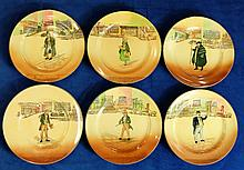 Royal Doulton Dickens seriesware collection of rack plates to include Dick Swiveller, Captain Cuttle, Tony Weller, Tom Pinch, Barkis, Little Nell, (6) diameter for all 26cm