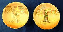 Royal Doulton Dickens seriesware Comport Sam Weller and another Comport Bill Sykes both D6327 diameter 20cm (2)