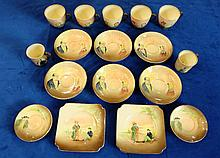 Royal Doulton embossed Dickens seriesware to include cups, saucers and coffee cans (17)
