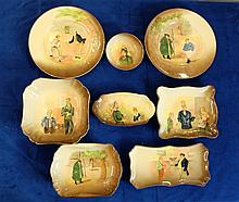 A collection of embossed Royal Doulton Dickens seriesware dishes comprising of Tony Weller, David Copperfield, and plates of Tony Weller and Fat Boy, Sam Weller and Mr Pickwick etc