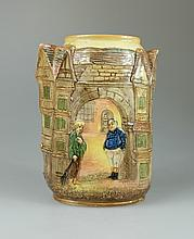 Royal Doulton embossed Dickens seriesware vase decorated with Fatboy and Poor Joe in street scene height 20cm