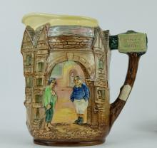 Royal Doulton embossed Dickens seriesware jug decorated with Fatboy and Poor Joe in bleak house scene height 20cm