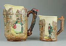 Royal Doulton embossed Dickens seriesware jug decorated with Sairey Gamp and smaller jug decorated with Bill Sykes tallest height 17cm (2)