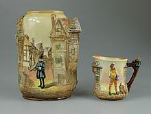 Royal Doulton embossed Dickens seriesware vase decorated with Sairey Gamp height 17cm and small embossed Sam Weller Jug (2)