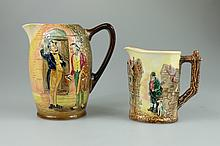Royal Doulton embossed Dickens seriesware jug decorated with Pecksmith and Tom Pinch, and smaller jug decorated with Bill Sykes (2) tallest height 16cm