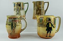 Royal Doulton Dickens seriesware collection of jugs comprising of Barkis D2973 (crazed), Poor Joe D5715, Sam Weller D3020 (crazed) and Mark Tappley D5175 (4) tallest 15cm