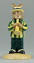 Bunnykins Trumpet Player in Green and Yellow Colourway Ltd Edt 100 Commemorating the 75th Bunnykins Anniversary (Boxed with Certificate)