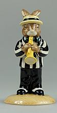 Bunnykins Trumpet Player Black and White Colourway Ltd Edt 100 Commemorating the 75th Bunnykins Anniversary (Boxed with Certificate)
