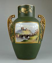Charles Barlow of Smithfields works Hanley two handled vase hand painted to one side with Richmond Castle and gilded decoration to the other , height 27cm