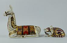 Royal Crown Derby paperweight of a Llama Collectors Guild piece with gold stopper and Small Kitten (2)