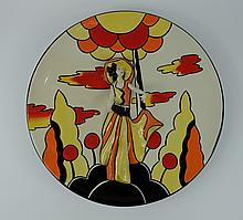 Lorna Bailey Charger decorated with embossed lady in Art deco design limited edition of 75 2002 diameter 34cm