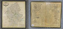 Old map of Staffordshire by Rob Morden in ebony frame 40 x 47cm and map of Stafford Countie and Towne  (2)