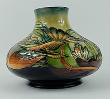 Moorcroft large squat vase decorated in the Trout design by Phillip Gibson, height 16.5cm