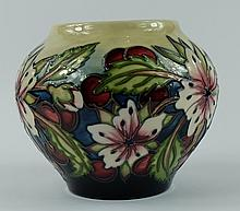 Moorcroft vase decorated in the Kanzan Festival design by Nicola Slaney,limited edition of 50 for the collectors club 2002 open weekend, height 11.5cm