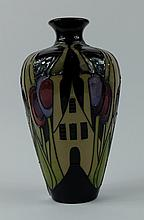 Moorcroft vase decorated in the Hamlet design by Kerry Goodwin, height 16cm
