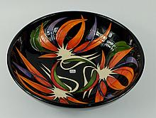 Moorcroft fruit bowl decorated in the paradise found design by Vicky Lovatt, diameter 26cm